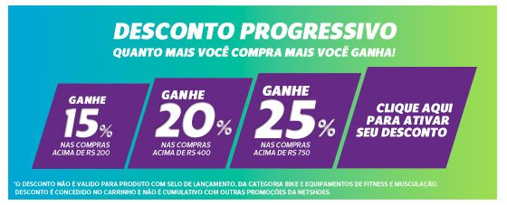d79e7c9e1c35a Promoção Netshoes: Exclusivo por e-mail: Desconto Progressivo de até ...